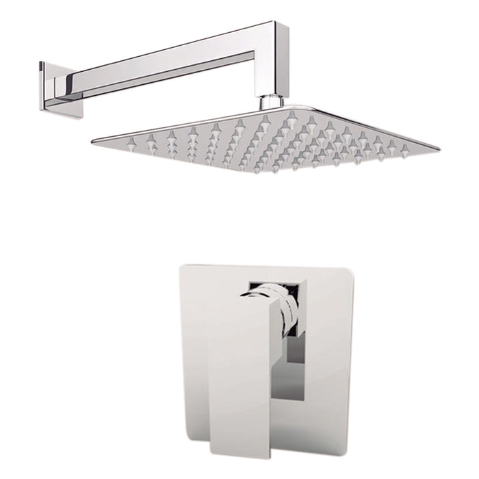 "Aquamoon MILAN Chrome  Bathroom Modern Rain Mixer Shower Combo Set Wall Mounted Rainfall Shower Head 8"" + Rough in + Trim Incluided SETMIL10811"
