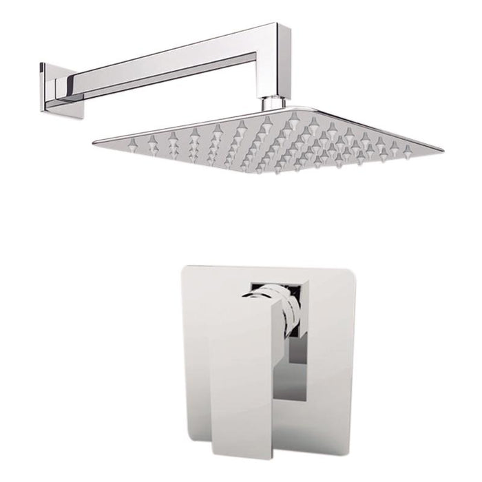 "Aquamoon Milan Brushed Nickel   Bathroom Modern Rain Mixer Shower Combo Set Wall Mounted Rainfall Shower Head 8"" + Rough In + Trim Included Setmil10812"