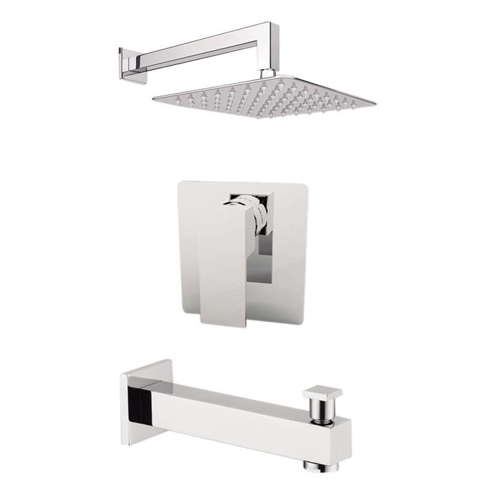 "Aquamoon Milan Chrome Shower With Tub Spout And 8"" Rain Shower Head, Wall Mounted Arm + Rough In + Trim Included Setmil10821"