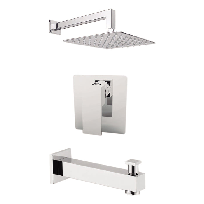 "Aquamoon MILAN Chrome Shower with Tub Spout and 8"" Rain Shower Head, Wall Mounted Arm + Rough in + Trim Incluided SETMIL10821"