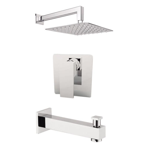 "Aquamoon Milan Brushed Nickel  Shower With Tub Spout And 8"" Rain Shower Head, Wall Mounted Arm + Rough In + Trim Included Setmil10822"