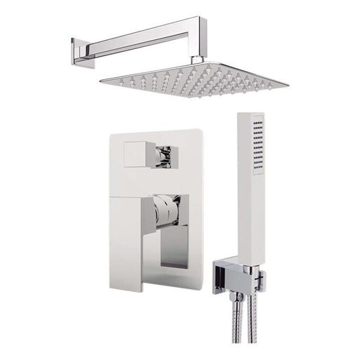 "Aquamoon Milan Chrome  Bathroom Modern Rain Mixer Shower Combo Set Wall Mounted Rainfall Shower Head 8"" + Rough In + Trim Included + Handheld Setmil10831"
