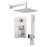 "Aquamoon Milan Brushed Nickel   Bathroom Modern Rain Mixer Shower Combo Set Wall Mounted Rainfall Shower Head 8"" + Rough In + Trim Included + Handheld Setmil10832"