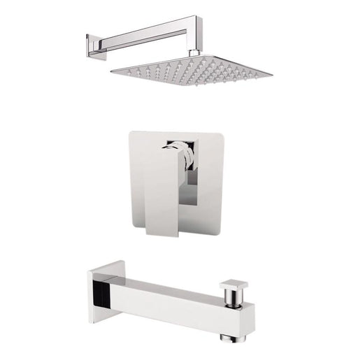 "Aquamoon Milan Brushed Nickel  Shower With Tub Spout And 12"" Rain Shower Head, Wall Mounted Arm + Rough In + Trim Included Setmil11222"