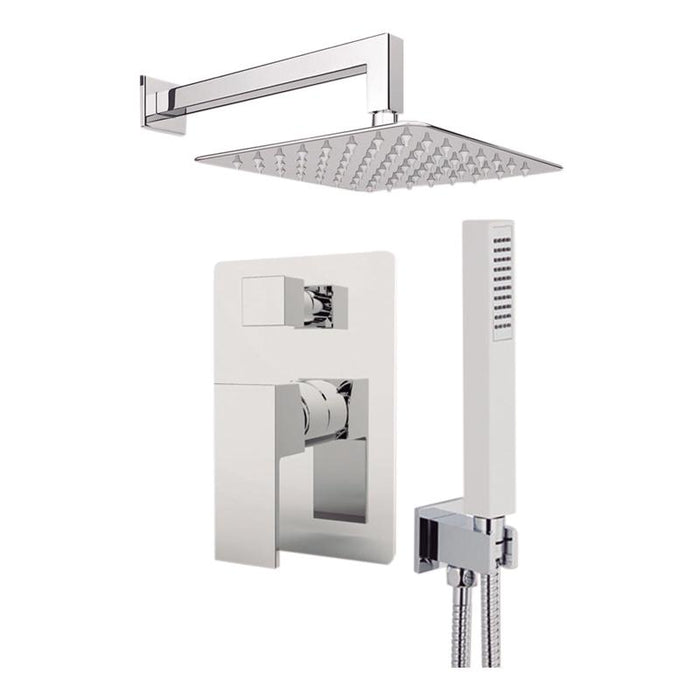 "Aquamoon Milan Chrome Bathroom Modern Rain Mixer Shower Combo Set Wall Mounted Rainfall Shower Head 12"" + Rough In + Trim Included + Handheld Setmil11231"