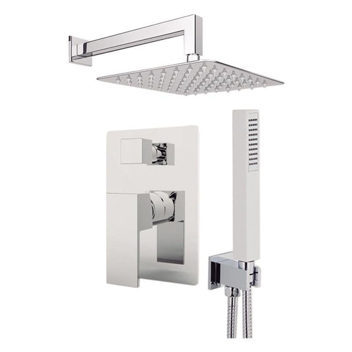 "Aquamoon Milan Brushed Nickel   Bathroom Modern Rain Mixer Shower Combo Set Wall Mounted Rainfall Shower Head 12"" + Rough In + Trim Included + Handheld Setmil11232"