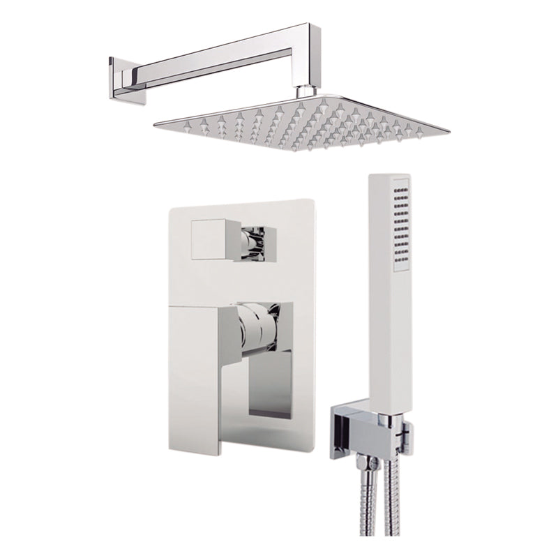 "Aquamoon MILAN Brush Nickel   Bathroom Modern Rain Mixer Shower Combo Set Wall Mounted Rainfall Shower Head 12"" + Rough in + Trim Incluided + Handheld SETMIL11232"