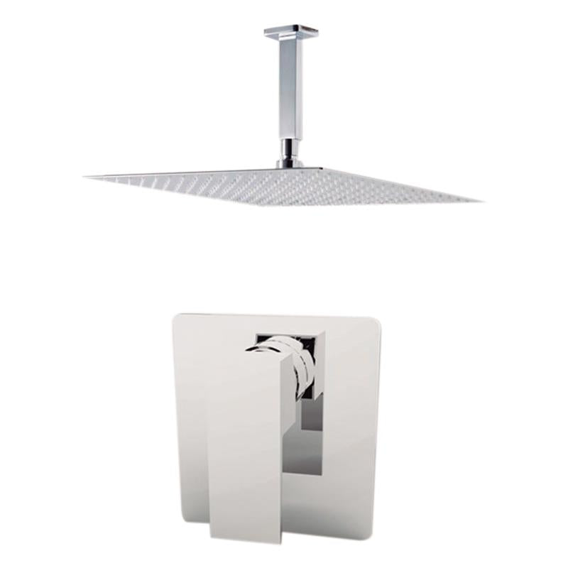 "Aquamoon Milan Chrome  Bathroom Modern Rain Mixer Shower Combo Set Ceiling Arm Mounted + Rainfall Shower Head 8"" + Rough In + Trim Included Setmil20811"