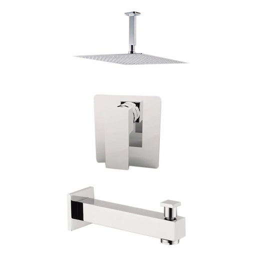 "Aquamoon Milan Chrome Shower With Tub Spout And 8"" Rain Shower Head, Ceiling Mounted Arm + Rough In + Trim Included Setmil20821"
