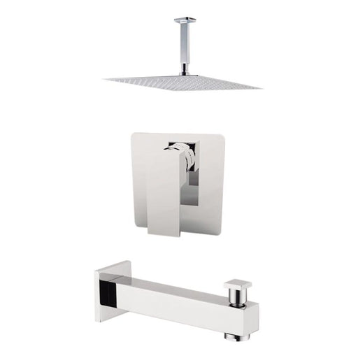 "Aquamoon Milan Brushed Nickel  Shower With Tub Spout And 8"" Rain Shower Head, Ceiling Mounted Arm + Rough In + Trim Included Setmil20822"