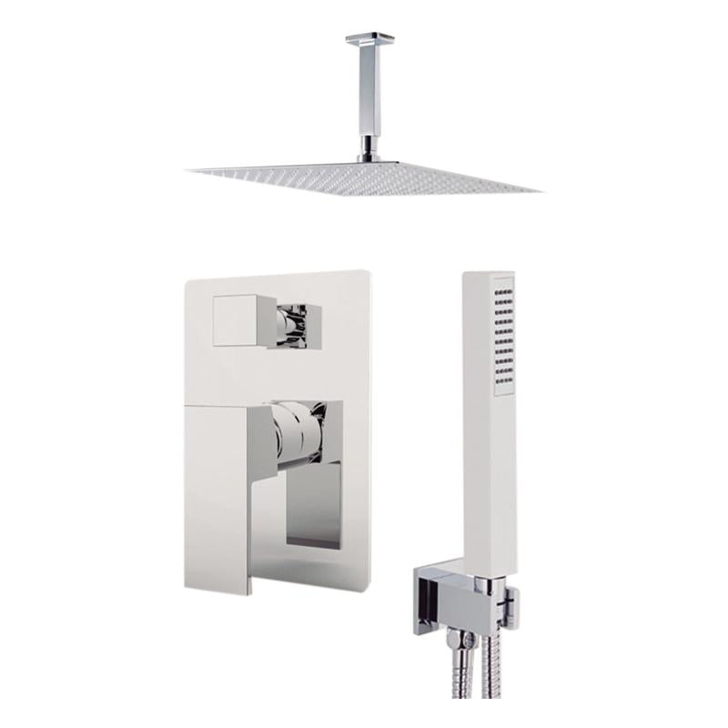 "Aquamoon Milan Chrome  Bathroom Modern Rain Mixer Shower Combo Set Ceiling Arm Mounted + Rainfall Shower Head 8"" + Rough In + Trim Included + Handheld Setmil20831"