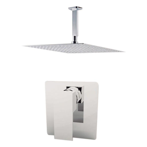 "Aquamoon Milan Chrome  Bathroom Modern Rain Mixer Shower Combo Set Ceiling Arm Mounted + Rainfall Shower Head 12"" + Rough In + Trim Included Setmil201211"