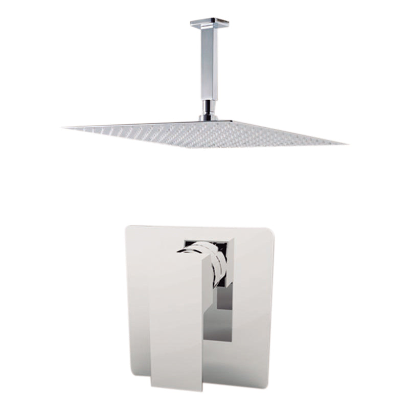 "Aquamoon MILAN Chrome  Bathroom Modern Rain Mixer Shower Combo Set Ceiling Arm Mounted + Rainfall Shower Head 12"" + Rough in + Trim Incluided SETMIL201211"