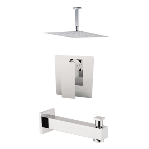 "Aquamoon Milan Brushed Nickel  Shower With Tub Spout And 12"" Rain Shower Head, Ceiling Mounted Arm + Rough In + Trim Included Setmil21222"