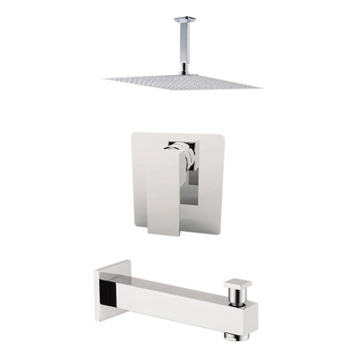 "Aquamoon MILAN Brush Nickel  Shower with Tub Spout and 12"" Rain Shower Head, Ceiling Mounted Arm + Rough in + Trim Incluided SETMIL21222"