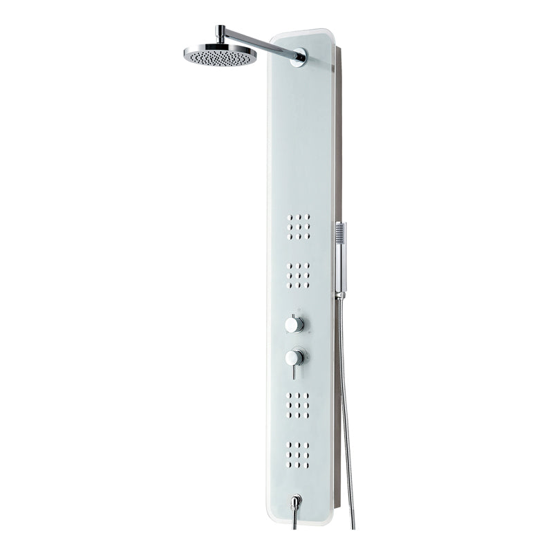 Aquamoon  Treviso  Wall Mount Bathroom Shower Panel 60 X 10 With  Rainfall Shower Head + Handhled Shower + Massage Body Jets