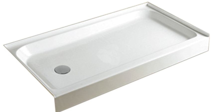 "Aquamoon 60"" X 32"" X 5.5"" Shower Base, White Color Left Drain"