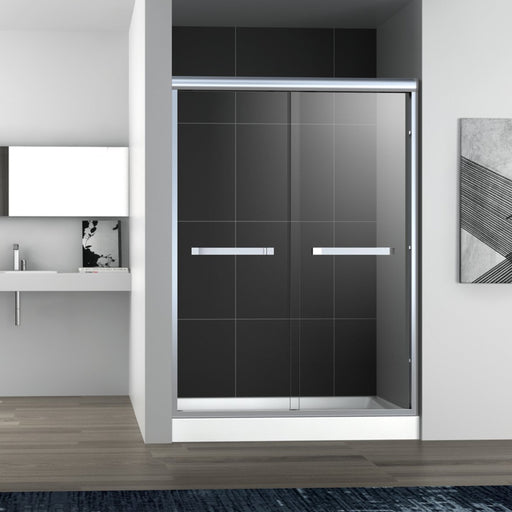 "Aquamoon Sienna Semi- Frameless Bypass Sliding Shower Door   60 ""X 76"" Clear Tempered Glass, Brushed Nickel"