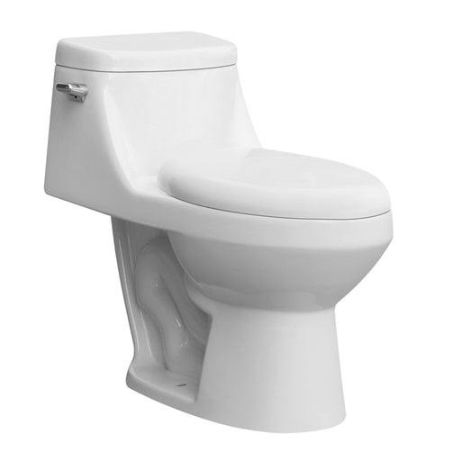 Aquamoon 212 Ada Single Flush Elongated One Piece Toilet With Soft Closing Seat, Water Sense, High-Efficiency, Color White