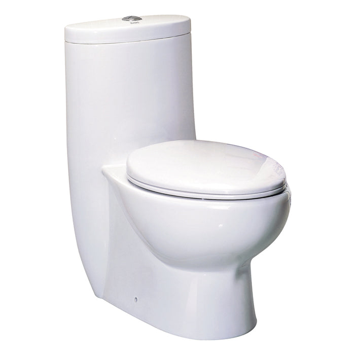 Eago 309 Dual Flush Elongated One Piece Toilet With Soft Closing Seat, Water Sense, High-Efficiency, Color White