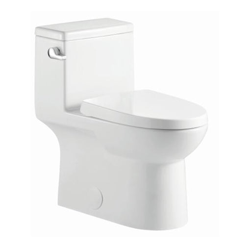 Aquamoon 324 Elongated One Piece Toilet With Soft Closing Seat, Water Sense, High-Efficiency, Color White