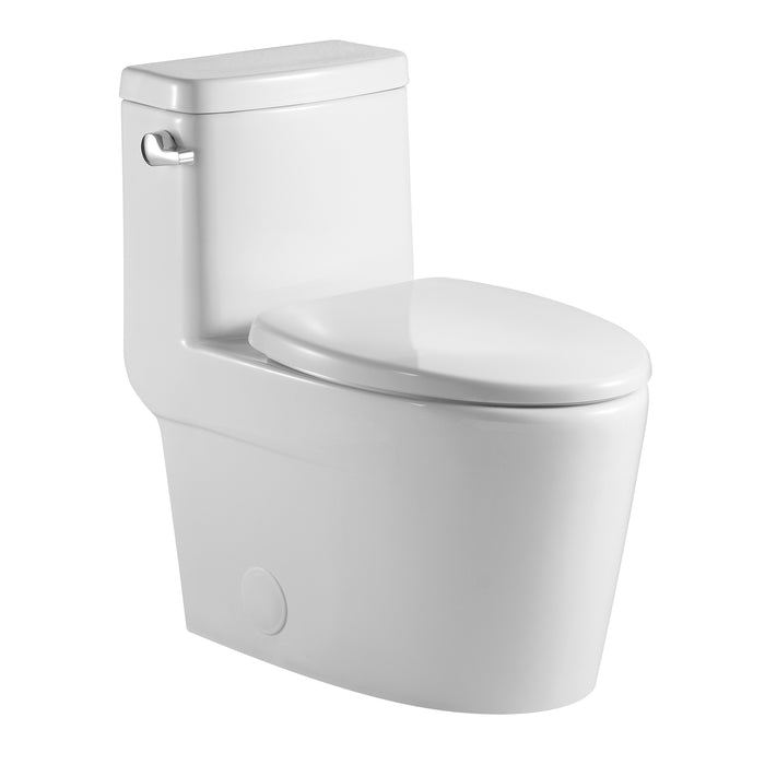 Aquamoon 328 Elongated One Piece Toilet With Soft Closing Seat, Water Sense, High-Efficiency, Color White