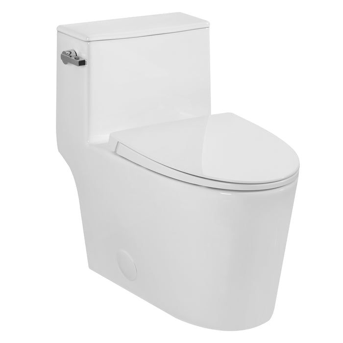 Aquamoon 335 Elongated One Piece Toilet With Soft Closing Seat, Water Sense, High-Efficiency, Color White