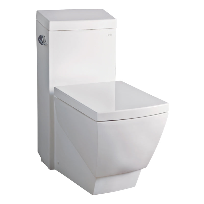 Eago 336 Single Flush Elongated One Piece Toilet With Soft Closing Seat, Water Sense, High-Efficiency, Color White