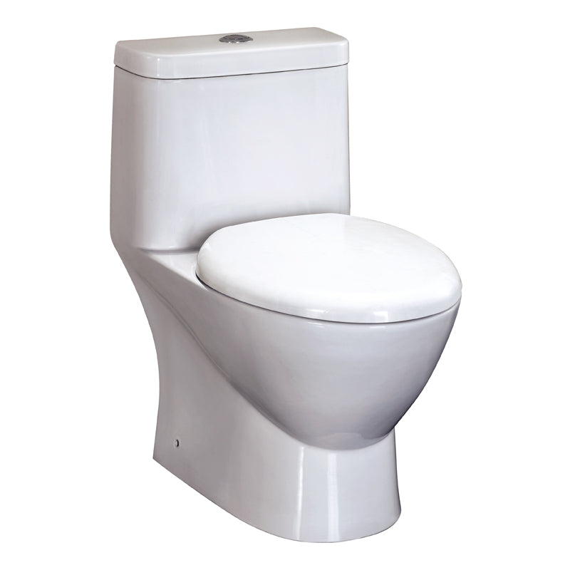 Eago 346 Dual Flush Elongated One Piece Toilet With Soft Closing Seat, Water Sense, High-Efficiency, Color White