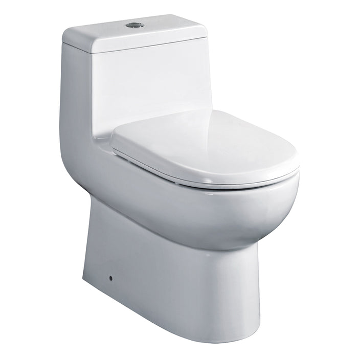 Eago 351 Dual Flush Elongated One Piece Toilet With Soft Closing Seat, Water Sense, High-Efficiency, Color White