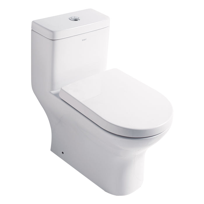 Eago 353 Dual Flush Elongated One Piece Toilet With Soft Closing Seat, Water Sense, High-Efficiency, Color White