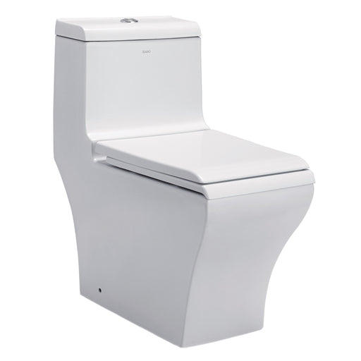 Eago 356 Dual Flush Elongated One Piece Toilet With Soft Closing Seat, Water Sense, High-Efficiency, Color White