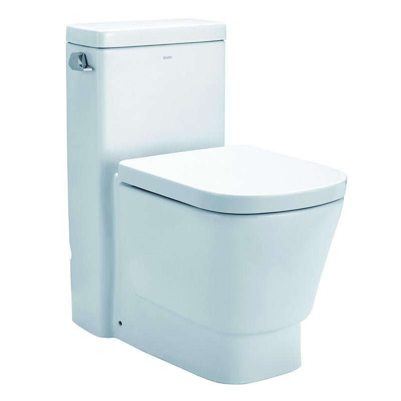 Eago 357 Single Flush Elongated One Piece Toilet With Soft Closing Seat, Water Sense, High-Efficiency, Color White