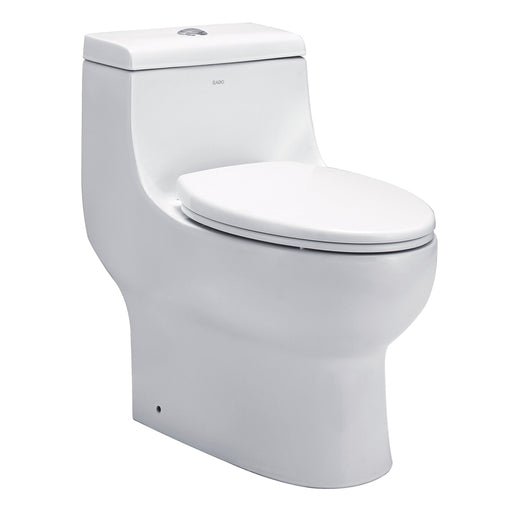 Eago 358 Dual Flush Elongated One Piece Toilet With Soft Closing Seat, Water Sense, High-Efficiency, Color White