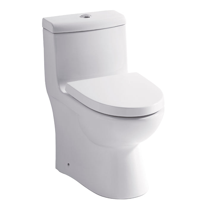 Eago 361 Dual Flush Elongated One Piece Toilet With Soft Closing Seat, Water Sense, High-Efficiency, Color White - Bath Trends USA