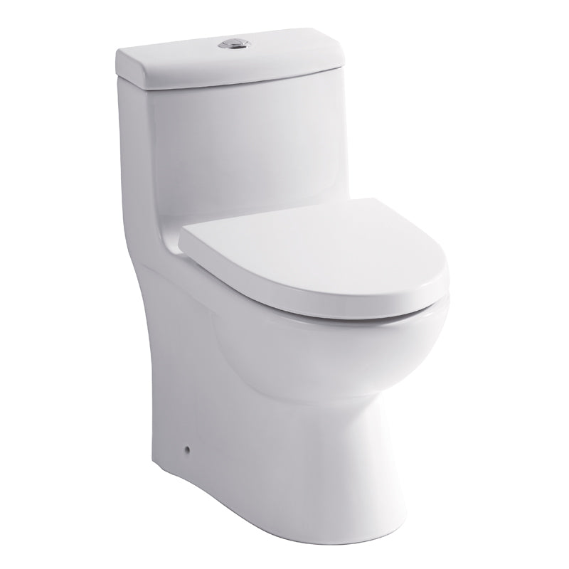 Eago 361 Dual Flush Elongated One Piece Toilet With Soft Closing Seat, Water Sense, High-Efficiency, Color White