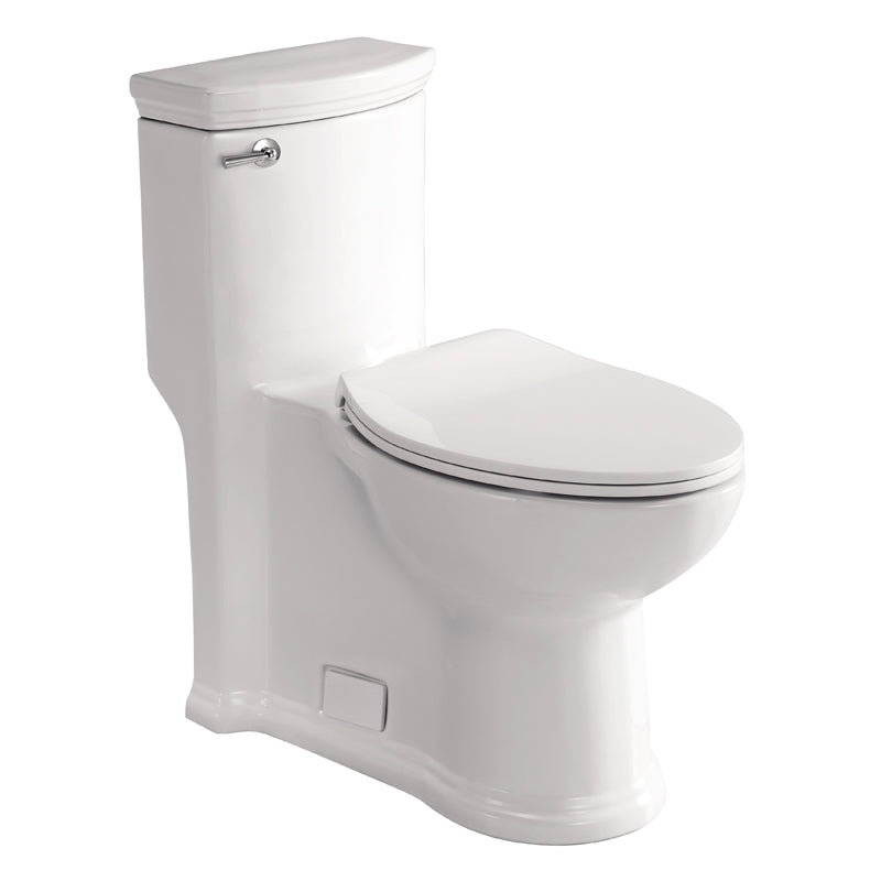 Eago 364 Single Flush Elongated One Piece Toilet With Soft Closing Seat, Comfort High, Water Sense, High-Efficiency, Color White