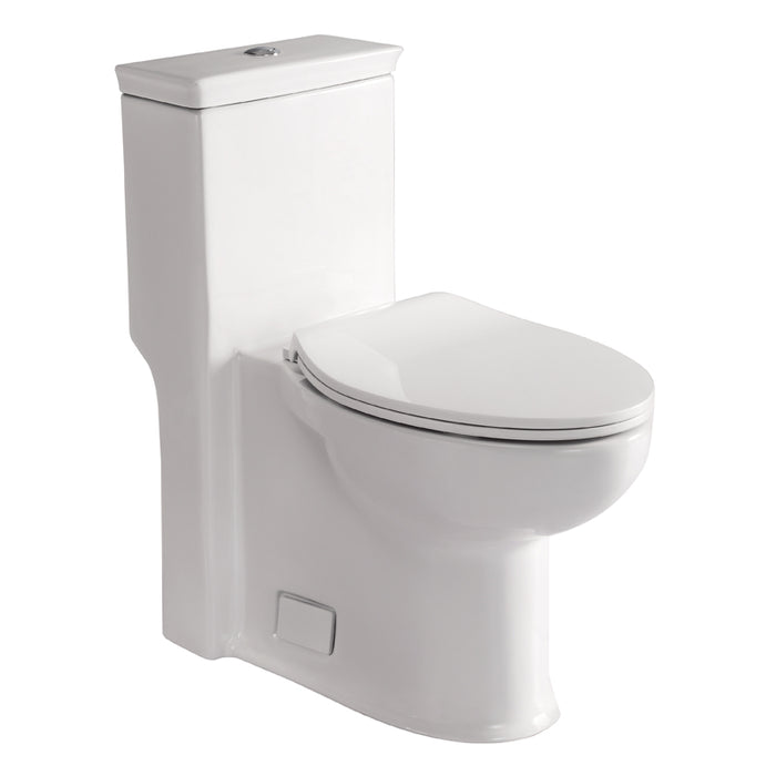 Eago 377 Dual Flush Elongated One Piece Toilet With Soft Closing Seat, Comfort High, Water Sense, High-Efficiency, Color White