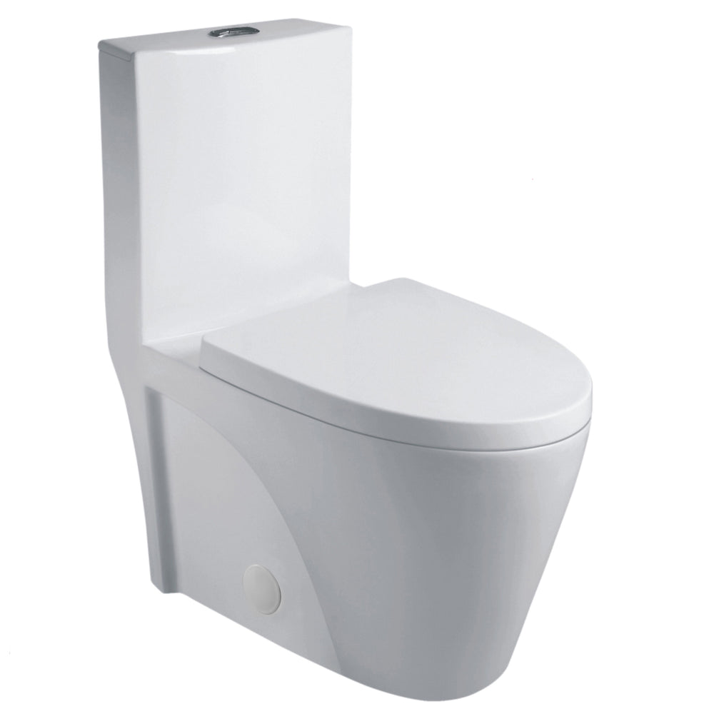 Aquamoon 382 Dual Flush Elongated One Piece Toilet With Soft Closing Seat, Water Sense, High-Efficiency, Color White