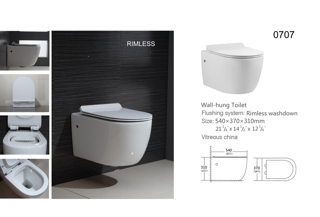 Aquamoon 707 Round Wall-Hung Elongated One Piece Toilet With Soft Closing Seat, Water Sense, High-Efficiency, Color White