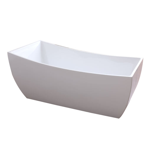 "Aquamoon Bruselas 67"" Acrylic Freestanding Bathtub Contemporary Soaking Tub With Chrome Overflow And Drain Color White"