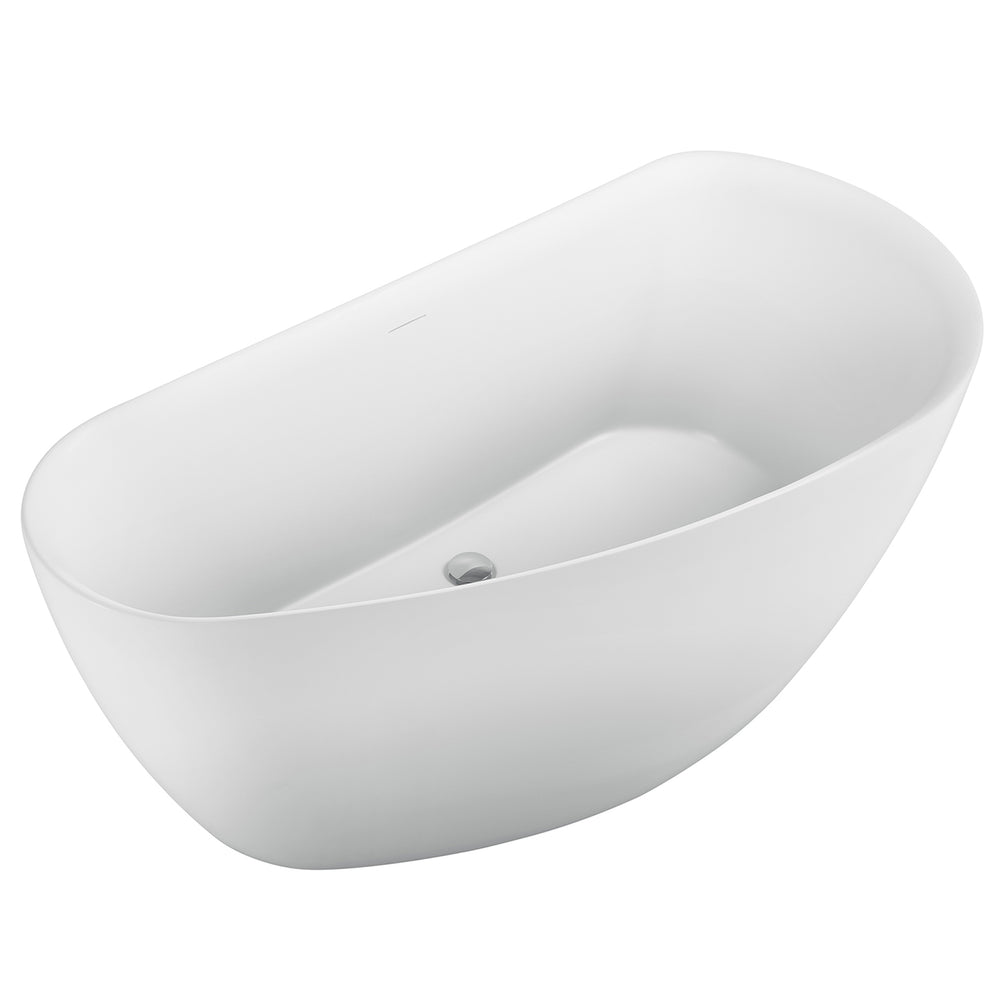 "Aquamoon California 60"" Acrylic Freestanding Bathtub Contemporary Soaking Tub With Chrome Overflow And Drain Color White Matte"