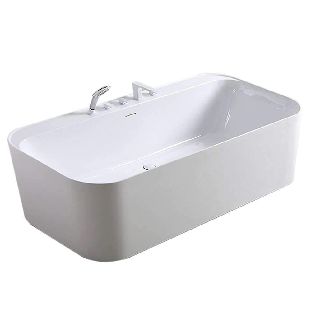 "Aquamoon Florida 60"" Acrylic Freestanding Bathtub Contemporary Soaking Tub With Chrome Overflow And Drain Color White Matte"