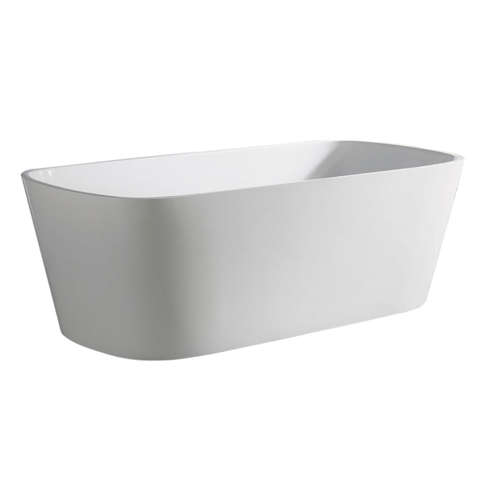 "Aquamoon Potenza 67"" Acrylic Freestanding Bathtub Contemporary Soaking Tub With Chrome Overflow And Drain Color White"