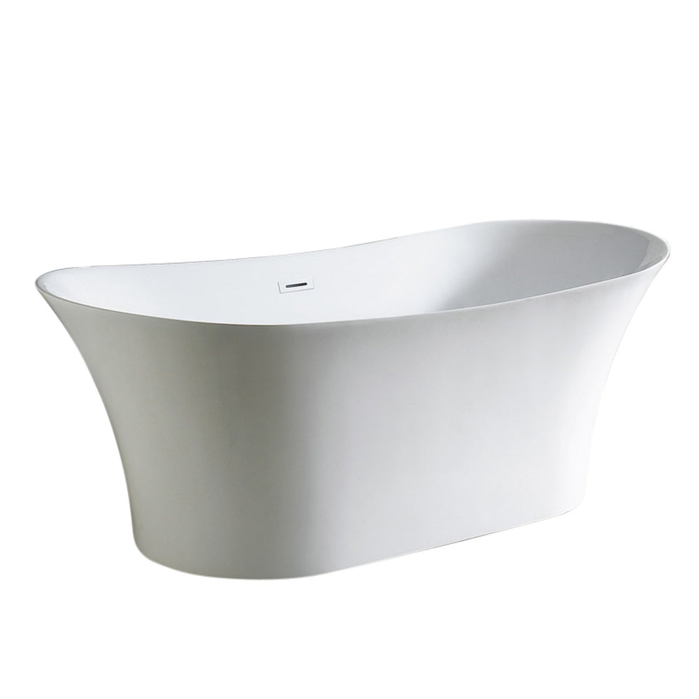 "Aquamoon Solaris 72"" Acrylic Freestanding Bathtub Contemporary Soaking Tub With Chrome Overflow And Drain Color White"