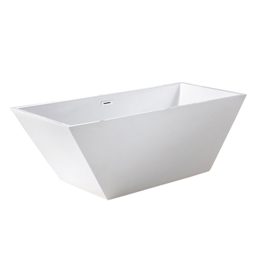 "Aquamoon Spazio 60"" Acrylic Freestanding Bathtub Contemporary Soaking Tub With Chrome Overflow And Drain Color White"