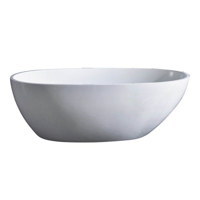 "Aquamoon Tenna 60"" Acrylic Freestanding Bathtub Contemporary Soaking Tub With Chrome Overflow And Drain Color White"