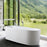 "Aquamoon Toronto 67"" Acrylic Freestanding Bathtub Contemporary Soaking Tub With Chrome Overflow And Drain Color White Matte"