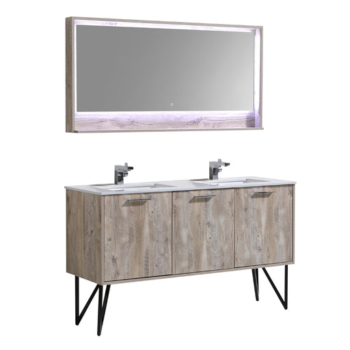 Aquamoon Canyon 60 Ashwood Double Sink Wall Mounted or Free Standing Modern Bathroom Vanity Set