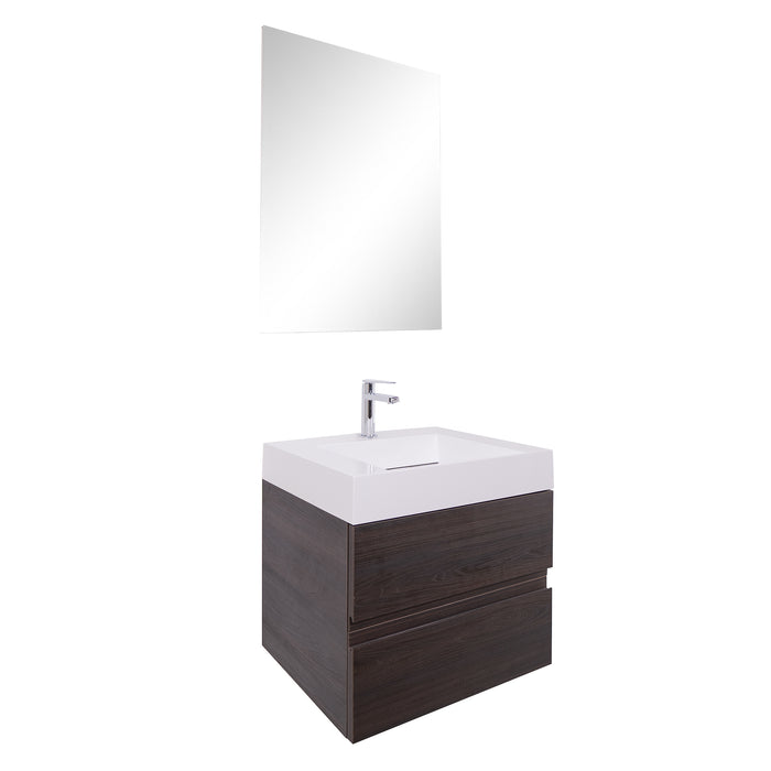 Aquamoon Contessa 24 Infinity Sink Wendge Wall Mounted Modern Bathroom Vanity Set